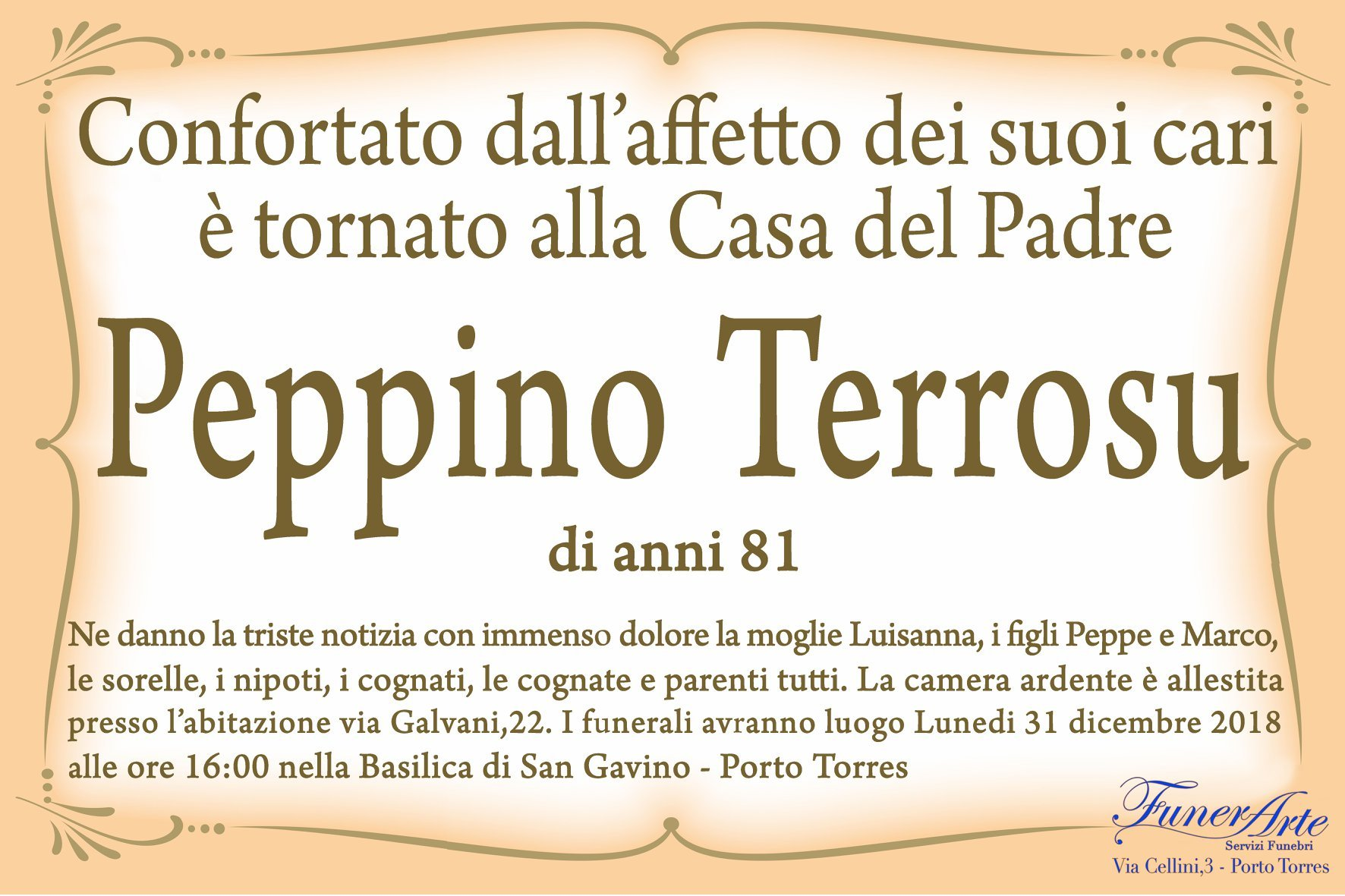 Peppino Terrosu Necrologia