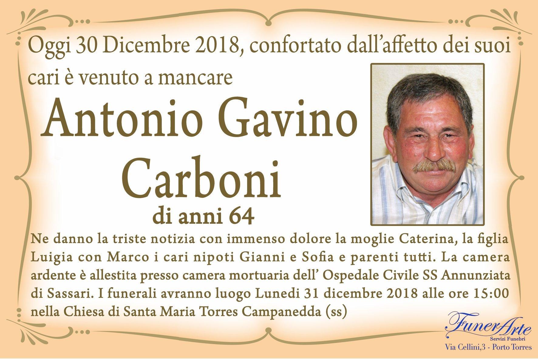 Antonio Gavino Carboni Necrologia